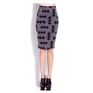 Forever 21 Bats & Cats Batman pencil skirt